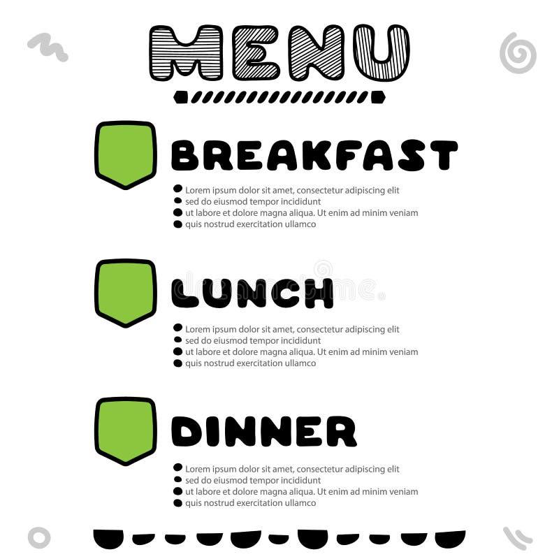 咖啡馆的手拉的菜单与早餐,午餐,晚餐题字 模板设计 向量例证