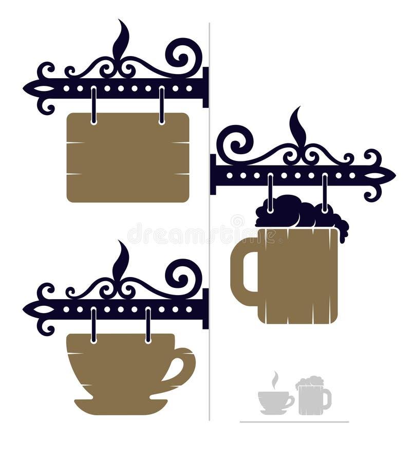 咖啡馆的木装饰标志与杯子和啤酒象 向量例证