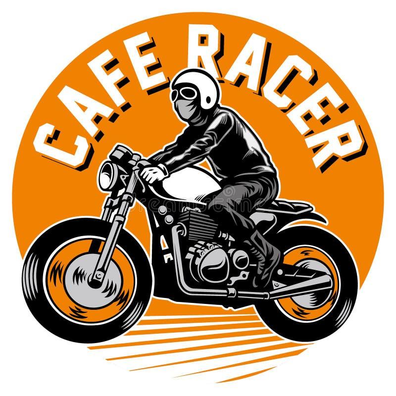 咖啡馆竟赛者摩托车徽章 向量例证