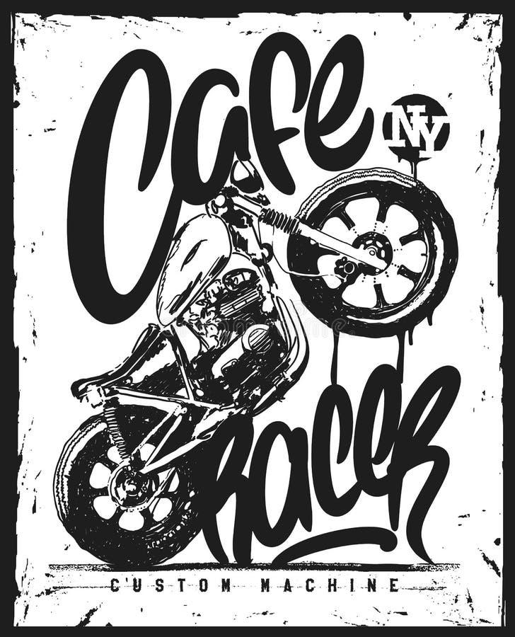 咖啡馆竟赛者葡萄酒摩托车手拉的T恤杉印刷品 库存例证