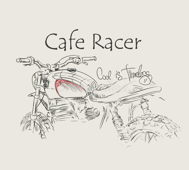 咖啡馆竟赛者葡萄酒摩托车手拉的T恤杉印刷品 皇族释放例证
