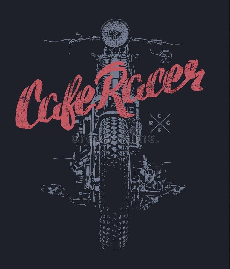 咖啡馆竟赛者葡萄酒摩托车手拉的T恤杉印刷品 向量例证