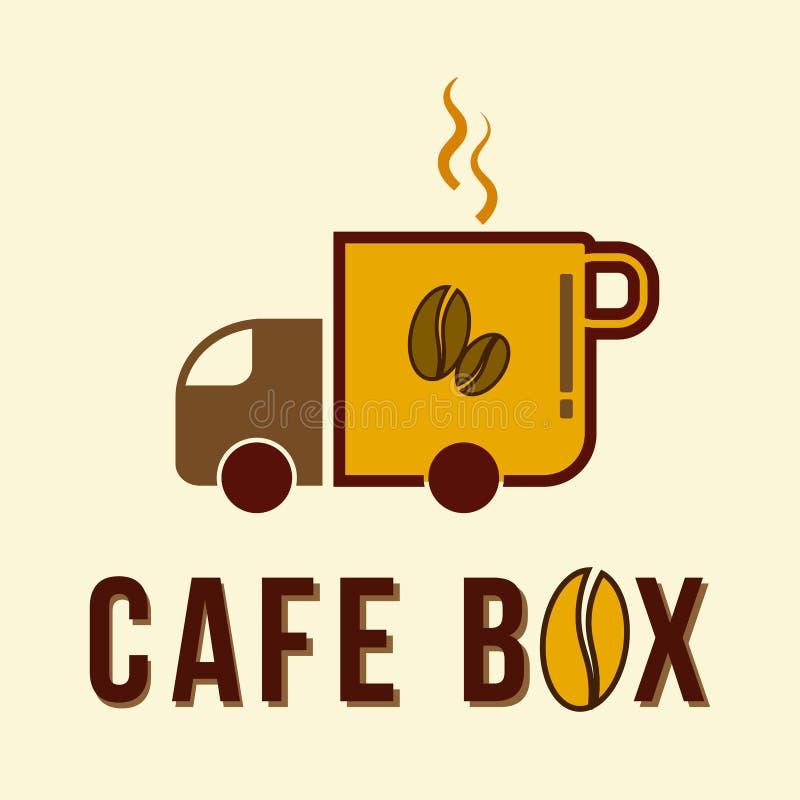 咖啡馆箱子商标设计概念性模板的传染媒介 向量例证