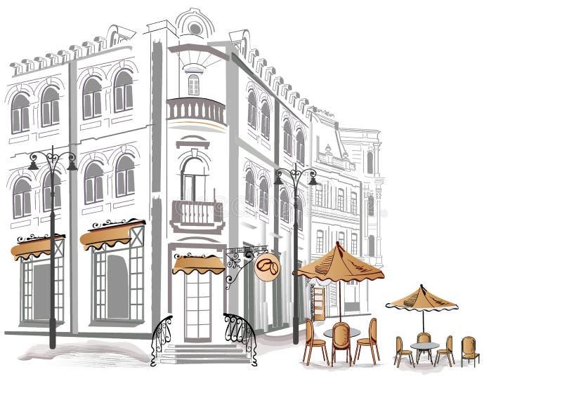 咖啡馆系列速写街道 库存例证