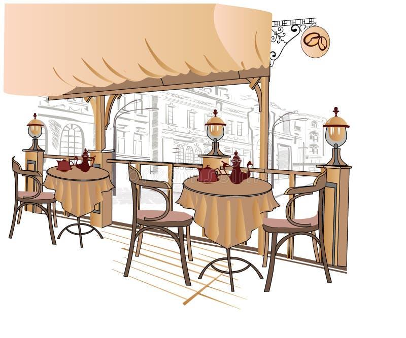 咖啡馆系列速写街道 皇族释放例证