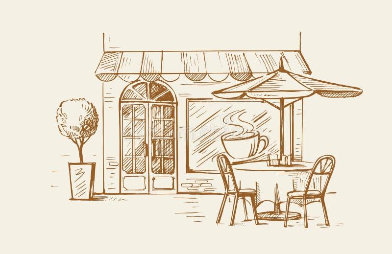 咖啡馆老街道城镇 库存例证