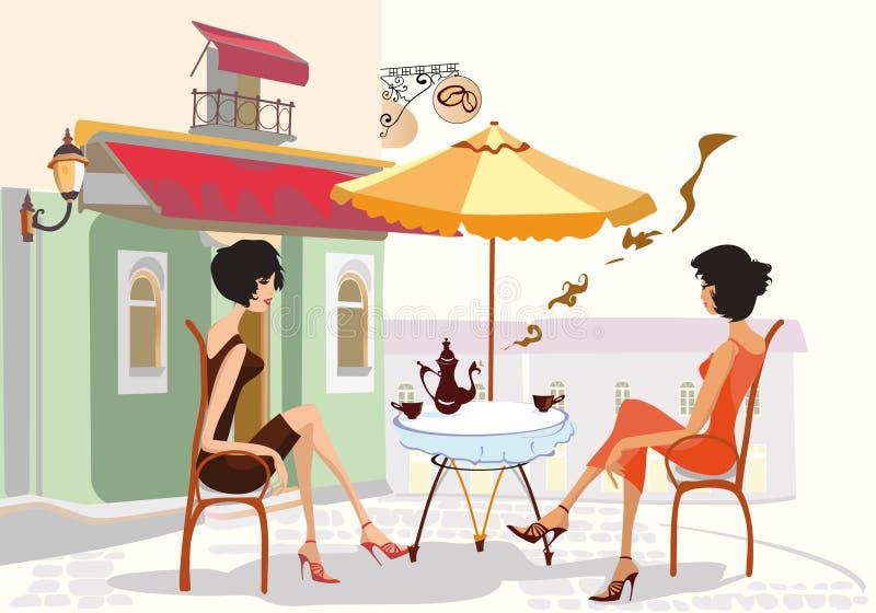咖啡馆聊天的女孩 向量例证