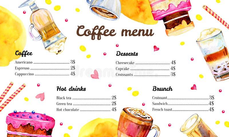 咖啡馆菜单与咖啡饮料和食物名单的设计模板 与蛋糕、玻璃和杯子的水彩手拉的例证 皇族释放例证