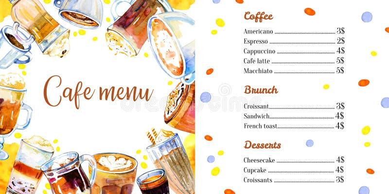 咖啡馆菜单与饮料名单的设计模板 与玻璃和杯子的水彩手拉的剪影例证 向量例证