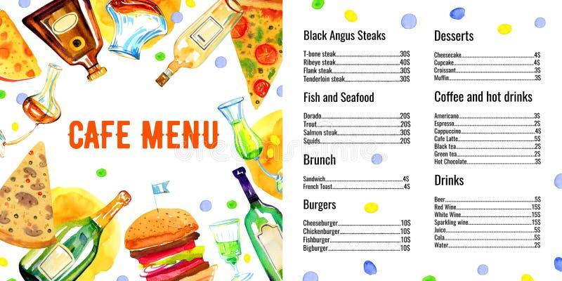 咖啡馆菜单与饮料和食物名单的设计模板 上色玻璃酒精瓶、鸡尾酒和食物 皇族释放例证