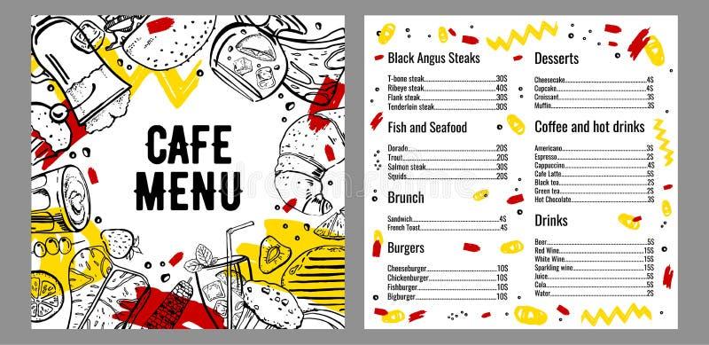 咖啡馆菜单两页与牛排、鱼、汉堡、饮料、咖啡和沙漠名单的设计模板 皇族释放例证