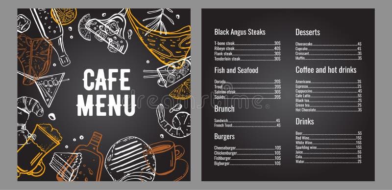 咖啡馆菜单两页与肉、鱼、汉堡、饮料、咖啡和点心名单的设计模板 皇族释放例证