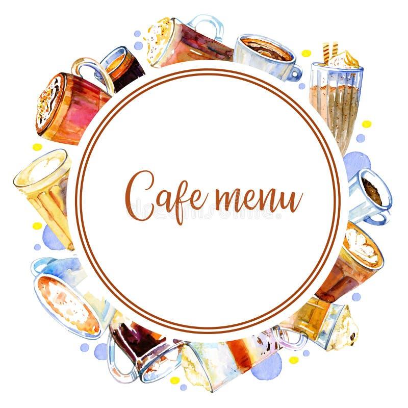咖啡馆菜单封面设计模板 与咖啡饮料的圆的框架 与玻璃和杯子的水彩手拉的剪影例证 皇族释放例证