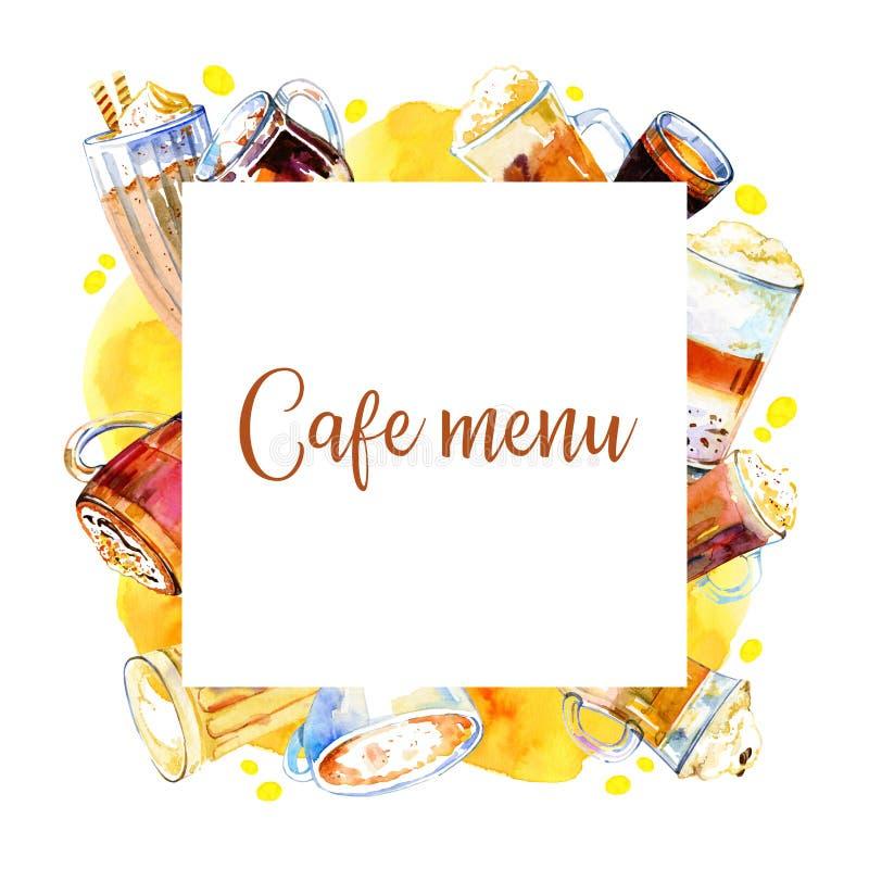 咖啡馆菜单封面设计模板 与咖啡饮料的长方形框架 水彩手拉的剪影例证 皇族释放例证
