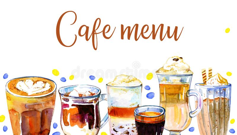 咖啡馆菜单封面设计模板 咖啡饮料连续 与玻璃和杯子的水彩手拉的剪影例证 向量例证