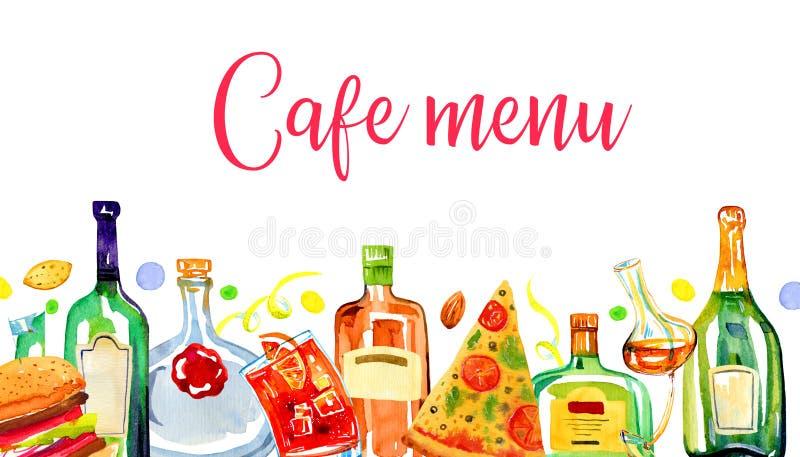 咖啡馆菜单封面设计模板 透明颜色玻璃酒精瓶、食物和鸡尾酒连续 库存例证