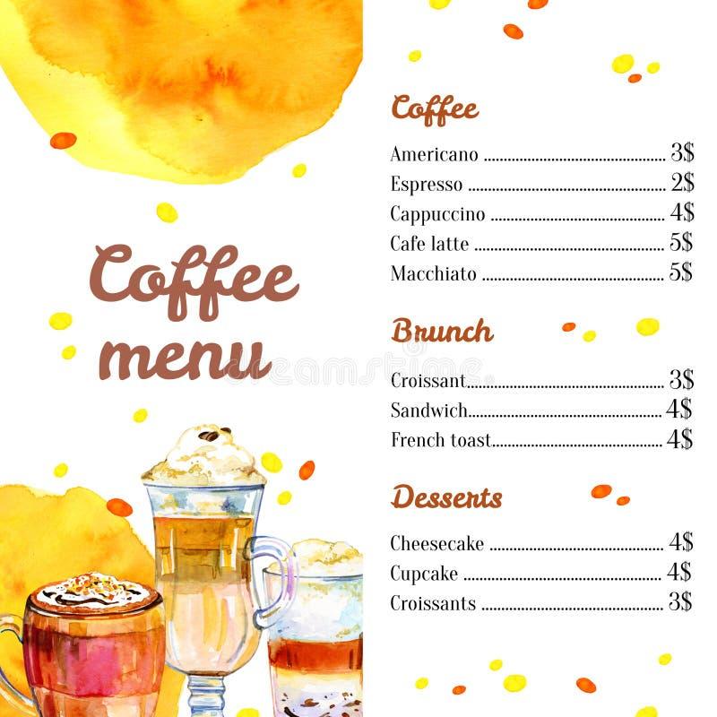咖啡馆菜单设计模板 与玻璃和杯子的水彩手拉的剪影例证 皇族释放例证