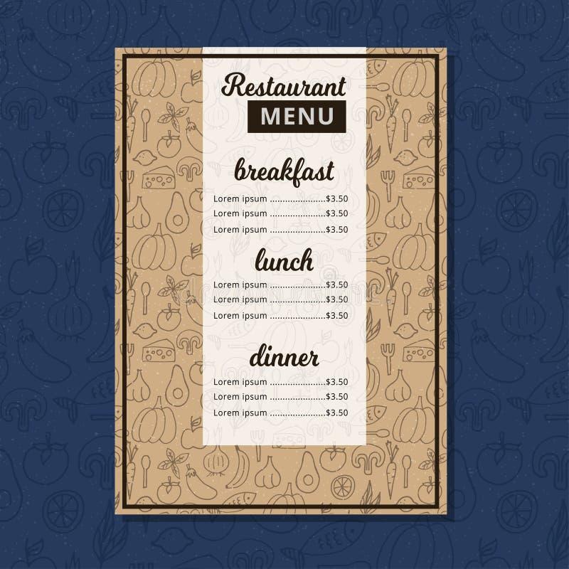 咖啡馆菜单餐馆小册子 食物设计模板 向量例证