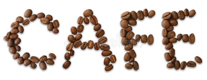 咖啡馆词由咖啡豆制成在白色背景-接近的概念-股票 库存例证