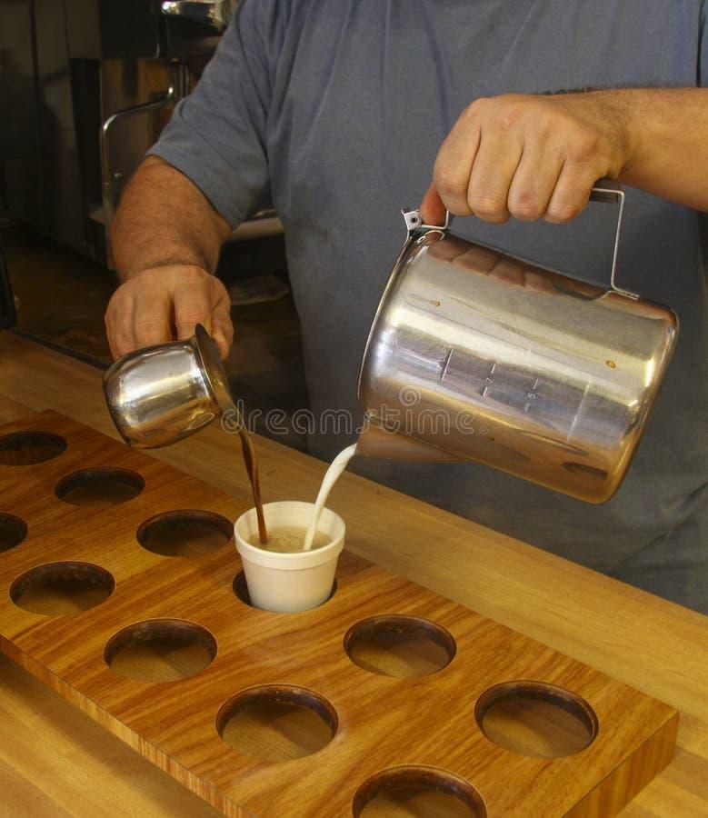 咖啡馆骗局Leche或古巴咖啡在基韦斯特岛 库存图片