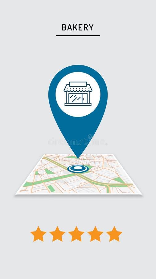 咖啡馆,餐馆,商店,在城市地图的商店别针规定值在与城市航海的流动应用 皇族释放例证