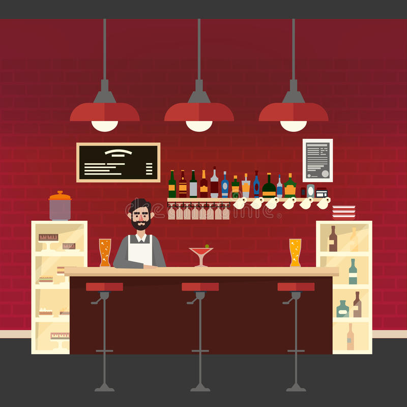 咖啡馆主持空的内部编号表 不同的饮料 男中音 酒吧桌 向量例证