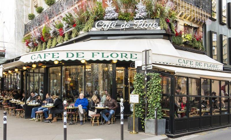 咖啡馆de Flore,巴黎,法国 库存照片