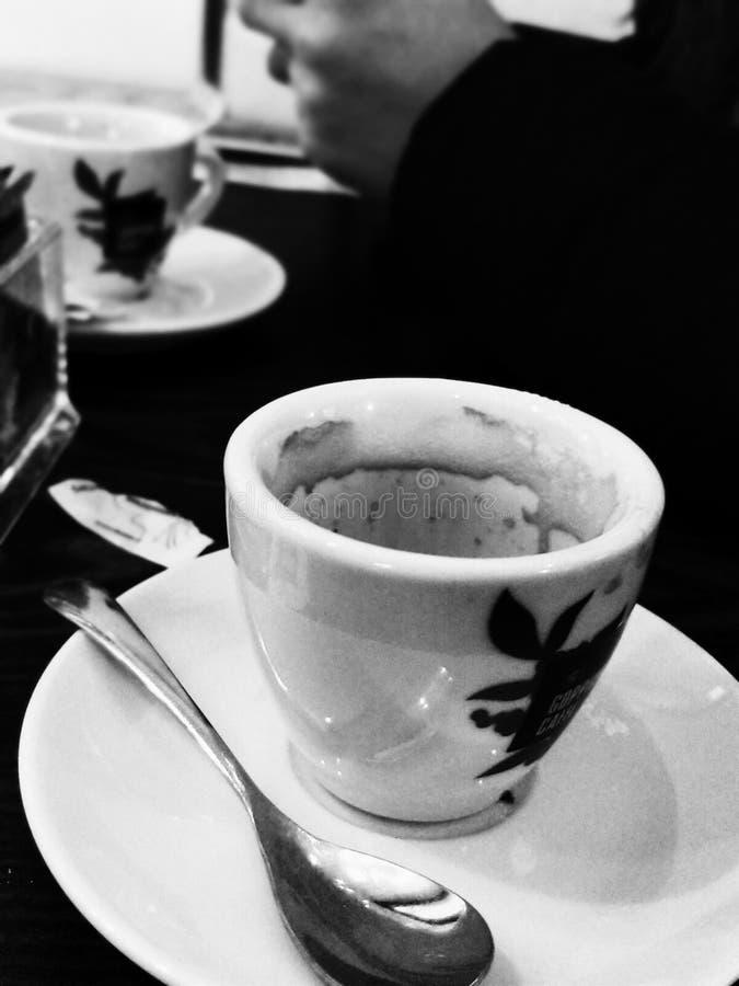 咖啡黑色&白色 免版税库存照片