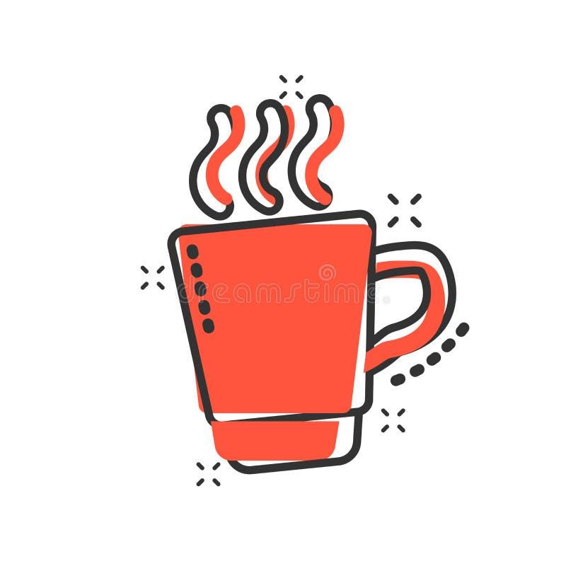 咖啡,在可笑的样式的茶杯象 咖啡杯传染媒介动画片例证图表 饮料企业概念飞溅作用 向量例证