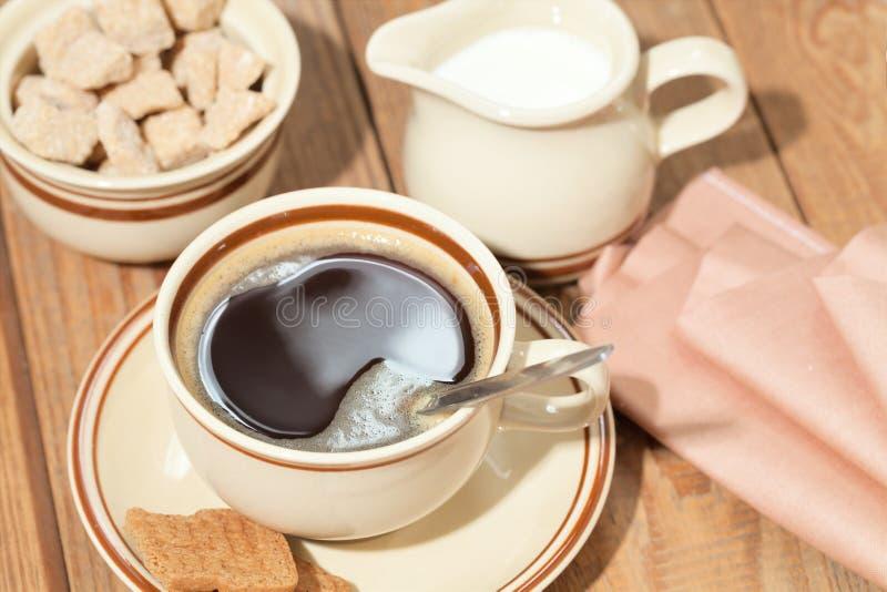 咖啡,糖 免版税库存照片