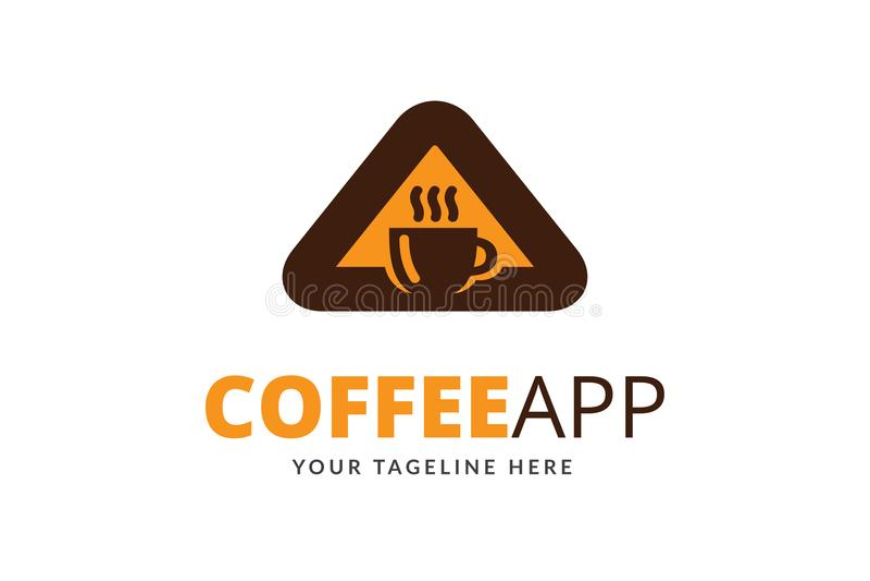 咖啡App商标设计模板传染媒介 库存例证
