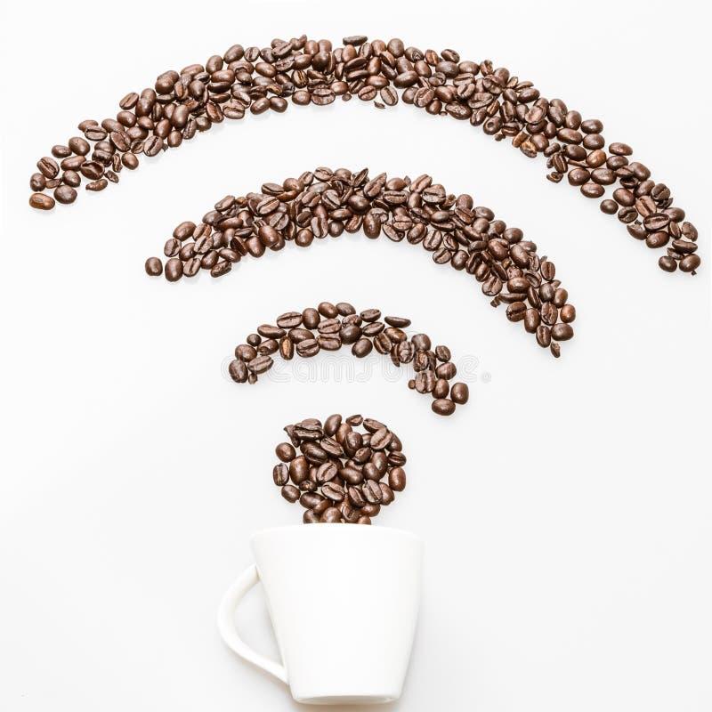 咖啡wifi标志 免版税库存图片