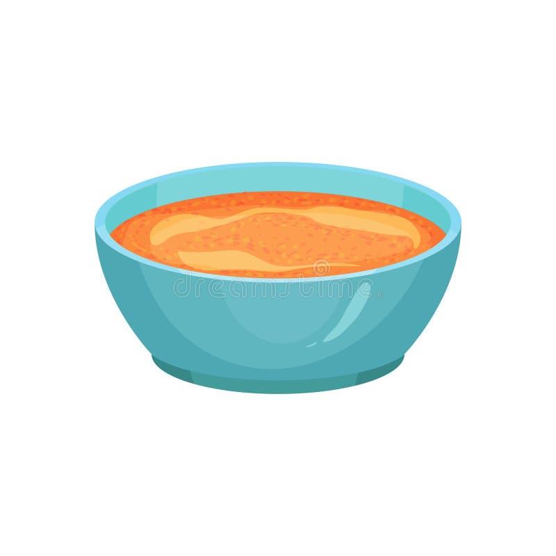 咖喱或辣橙色调味汁在明亮的蓝色陶瓷垂度碗 各种各样的盘的小汤 烹调成份 烹饪 库存例证