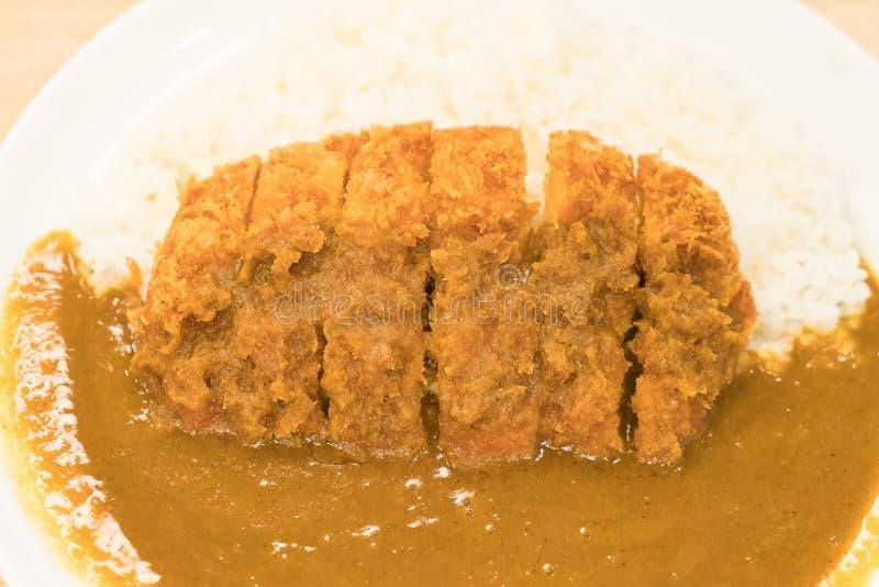 咖喱米用油煎的猪肉 库存照片