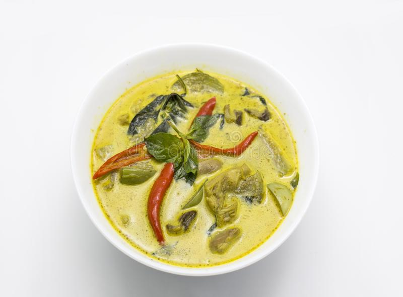 咖喱绿色辣鸡泰国食物 库存图片