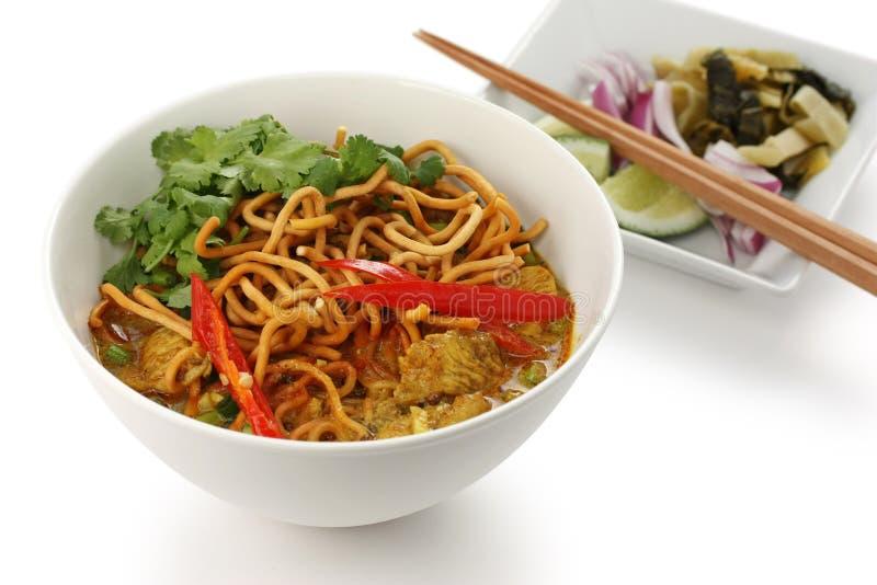 咖喱食物khao泰国面条的soi 库存照片