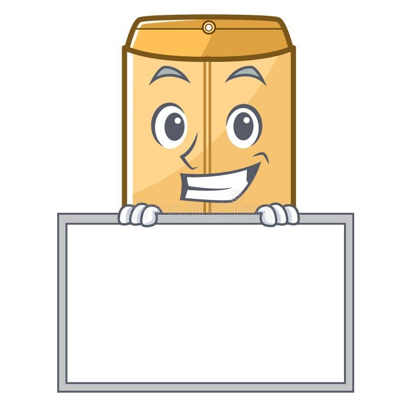 咧嘴与委员会在字符形状的邮件信封 皇族释放例证