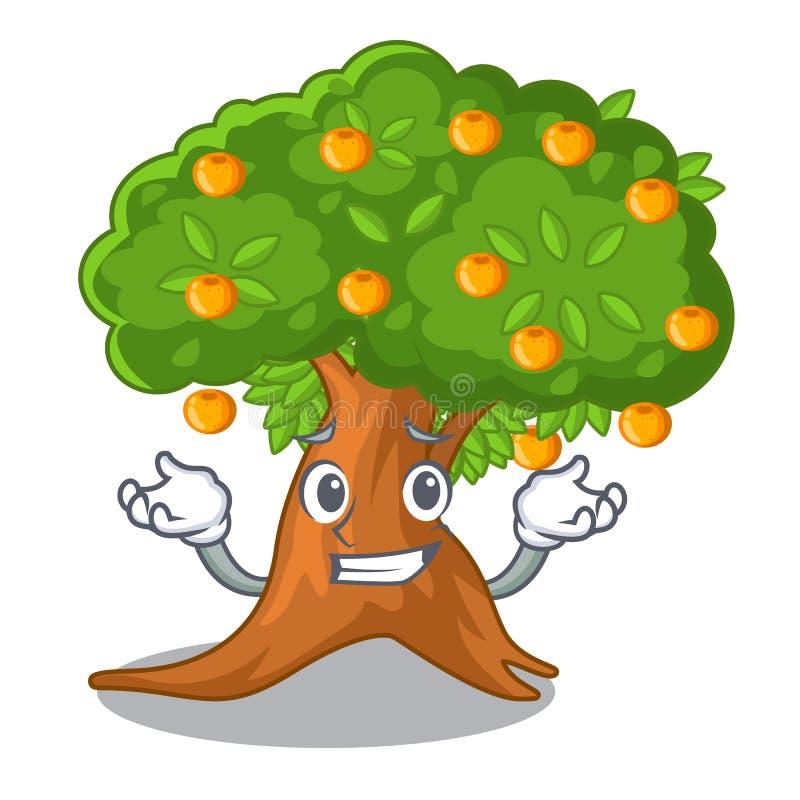 咧嘴在字符形状的橙树 皇族释放例证
