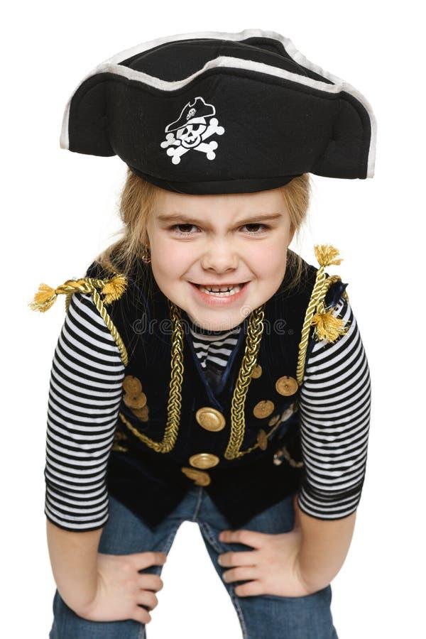 咧嘴笑的小女孩海盗 库存图片