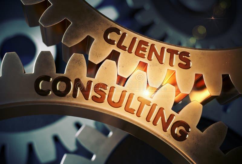咨询关于金黄齿轮的客户 3d例证 向量例证