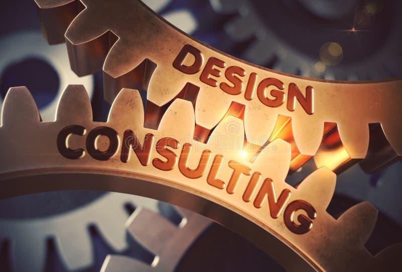 咨询关于金黄嵌齿轮齿轮的设计 3d例证 库存例证