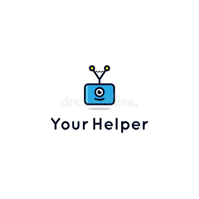 咨询或帮助中心的机器人辅助商标 库存例证