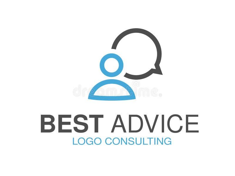 咨询的机构的,忠告蓝灰色品牌 与讲话泡影和人的标志的商标设计 皇族释放例证