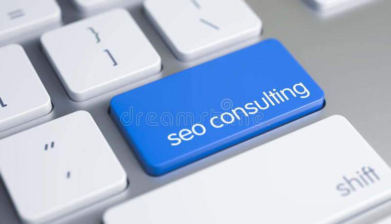 咨询的SEO -在蓝色键盘按钮的题字 3d 库存例证