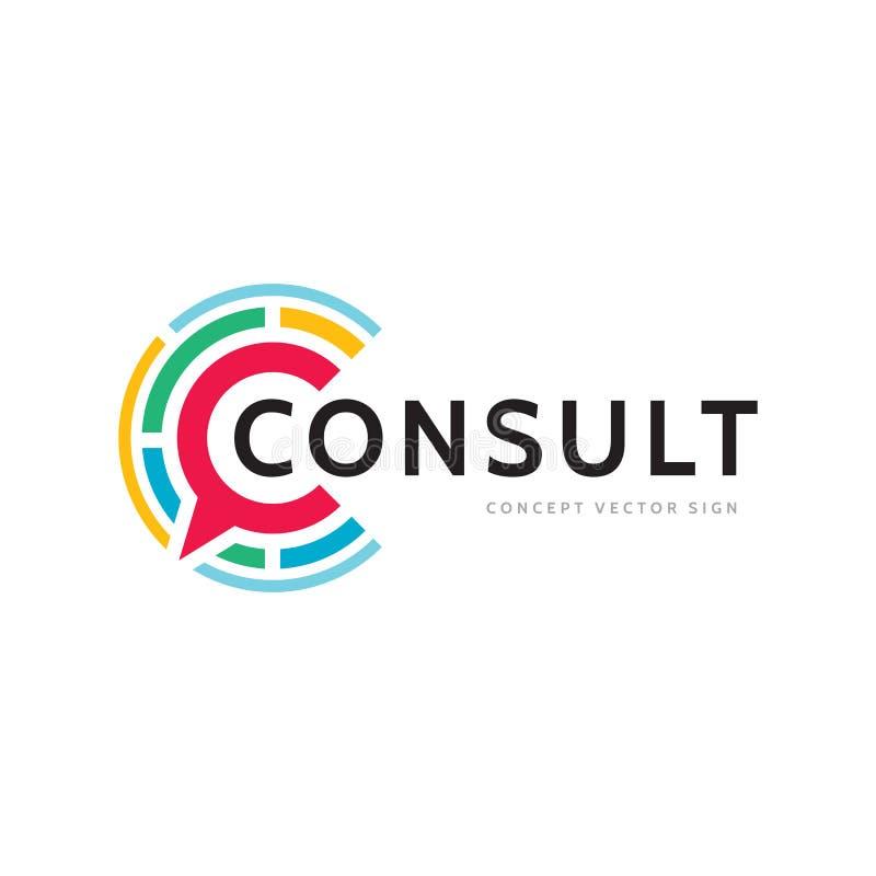 咨询-概念企业商标模板传染媒介例证 消息创造性的标志 对话闲谈谈的象 社会媒介s 向量例证