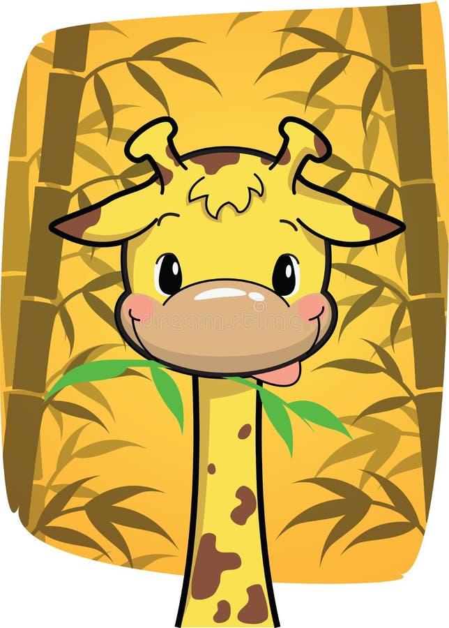 咬住在竹子的动画片逗人喜爱的长颈鹿在竹森林离开 向量例证
