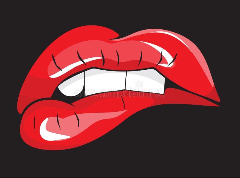 咬住她的红色嘴唇牙 库存例证