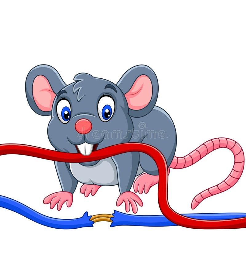 咬住缆绳的动画片老鼠 皇族释放例证