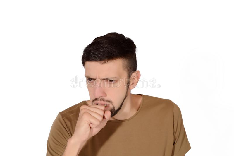 咳嗽人年轻人 库存照片