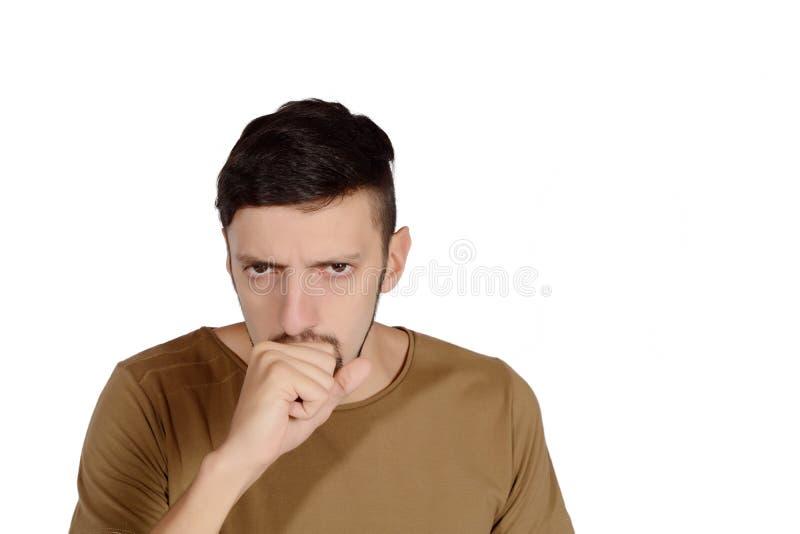 咳嗽人年轻人 免版税图库摄影